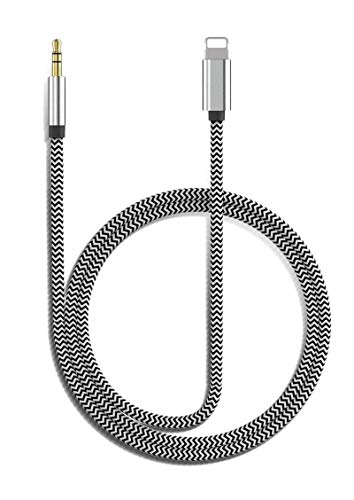 [Apple MFi Certified] Aux Cord for iPhone, Lightning to 3.5mm Nylon Braided Audio Stereo Cable for iPhone 11/11 Pro/XS/XR/X 8 7 6/iPad/iPod to Car/Home Stereo, Speaker, Headphone (3.3FT, Silver)
