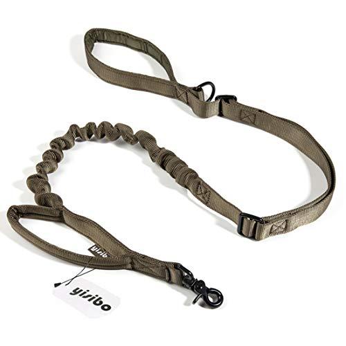 yisibo Adjustable Tactical Bungee Dog Leash-2 Handle-No Pull-Military Dog Training Leash(Ranger Green)