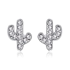 EVBEA Sterling Silver Stud Earrings Cubic Zirconia Cactus Clear Diamond Hypoallergenic Jewelry For Women