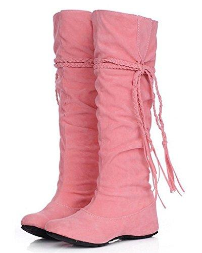 Altura Minetom Rosa Mate Invierno Aumento Zapatos El Fruncido La Superficie La Borla Con De Mujer Volante Botas UUaqPwr
