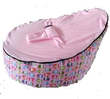 Luxurious Baby Bean Bag WITH FILLINGS Owl Pink Top Portable Sofa Sleeping Snuggle Bed