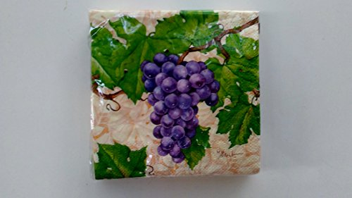 Cabernet Wine Grapes Cocktail Napkins Set of Two, used for sale  Delivered anywhere in USA