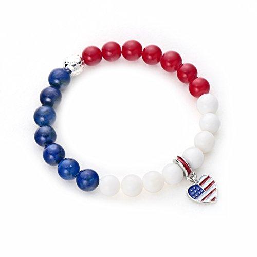 POSHFEEL Classic American Flag Charm Bracelets Natural Stone Beaded Bracelet National Flag United States of -