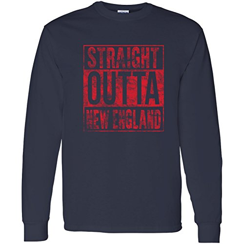 Straight Outta New England - Hometown Pride, Football Long Sleeve T Shirt - X-Large - Navy Cheers Boston T-shirt