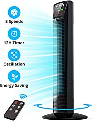 Tower Fan, Oscillating Fan Powerful Floor Fan with Remote & Large LED Display, 9 Modes, Easy Clean, Up to1
