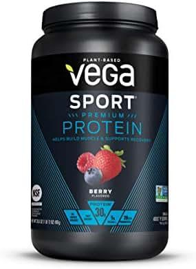 Vega Sport Premium Protein, Berry, 28.3 Ounce (Pack of 1), Plant-Based Vegan Protein Powder, BCAAs, Amino Acid, tart cherry, Non Whey, Keto-Friendly, Gluten Free,  Non GMO (Packaging May Vary)