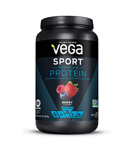 Vega Sport Premium Protein, Berry, 28.3 Ounce (Pack of 1), Plant-Based Vegan Protein Powder, BCAAs, Amino Acid, tart cherry, Non Whey, Keto-Friendly, Gluten Free,  Non GMO (Packaging May Vary)