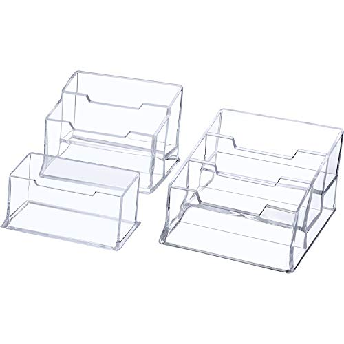 Jovitec 3 Pieces Clear Business Card Holder Case Desktop Card Organizer Card Stand for Office, Desk Display, 1 Tier, 2 Tiers and 3 Tiers Included