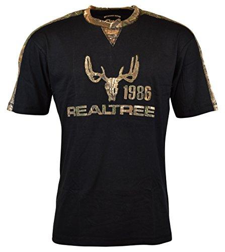 Buckhorn River Men's Realtree Camo Deer Skull Logo T-Shirt - XL - Black/Camo