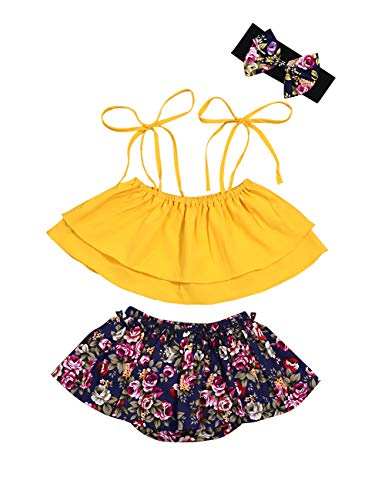 3PCS Set Infant Baby Girls Clothes Summer Outfits Tie-up Crop Top and Floral Shorts with Headband(0-18 M)