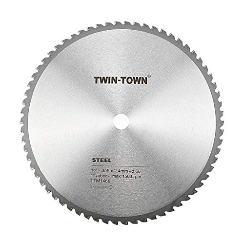 TWIN-TOWN 14-Inch 66 Tooth Steel and Ferrous Metal Saw Blade with 1-Inch  Arbor
