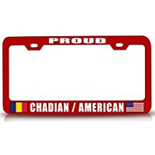 License Plate Covers Proud Chadian American Nationality Patriotic Steel License Plate Frame Rd