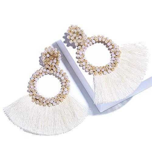 (SHIWE Bohemia Beaded Tassel Earrings for Women Long Thread Fringe Fan Drop Dangle Seed Beads Earrings White Black Red Blue Best Handmade)