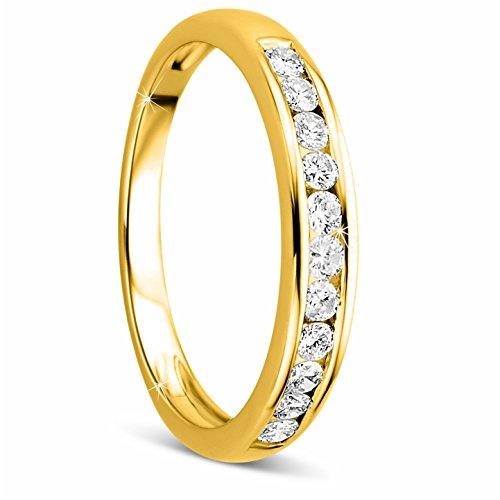 Orovi Damen-Ring Memoire Hochzeitsring GelbGold 14 Karat (585) Brillianten 0.33 carat Verlobungsring Diamantring
