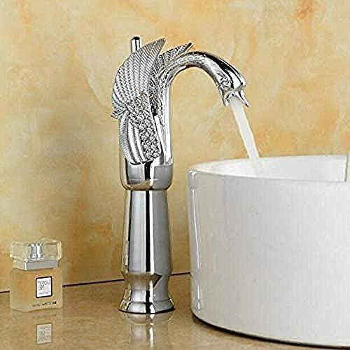 CHENBIN-BB 蛇口タップ流域水栓 白鳥の蛇口アーチデザインラグジュアリーウォッシュミキサータップ真鍮ホットとコールドタップゴールドメッキ単穴タップ