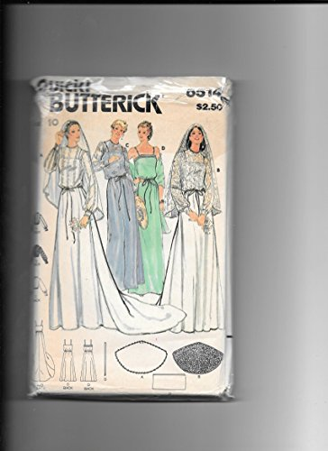 Illusions Bridal Veil - Butterick 6514 Sewing Pattern for Bridal Gown with Optional Illusion Bodice Overlay, Chapel Train, and Veil with Self Belt Misses 10
