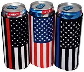 QualityPerfection - 3 Slim Can Cooler Sleeves - Beer Blank Skinny 12 oz Neoprene Coolie - Perfect For Red Bull,Michelob Ultra,Truly, White Law of the Claw (Police,Firefighter,USA, 3)