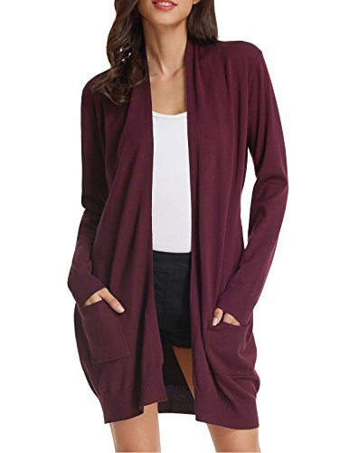 (Women's Open Front Knit Long Sleeve Pockets Sweater Cardigan (M,Wine))