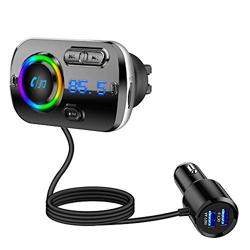 Tecboss Bluetooth FM Transmitter for Car, Upgraded Bluetooth 5.0 Wireless Car Radio Adapter with QC3.0 &5V/2.4A Fast Charging, Hands Free Car Kit, Music Streaming, Connects 2 Phones Simultaneously