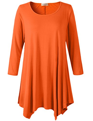 LARACE Women Plus Size 3/4 Sleeve Tunic Tops Loose Basic Shirt(2X, Orange)