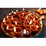 SEVEN MOON Diya for Decoration | Diya for Puja | Diya Holder Decorative | Diya Lamps for Pooja | Diwali Gifts and Decoration mitti Diya for Diwali Decoration(Set of 21, Handmade)