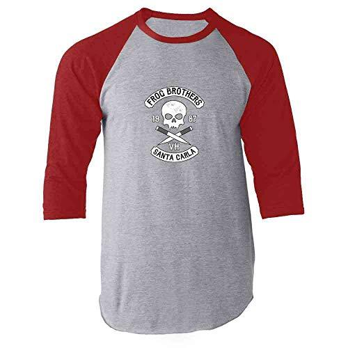 Frog Brothers Santa Carla Halloween Costume Horror Red L Raglan Baseball Tee Shirt