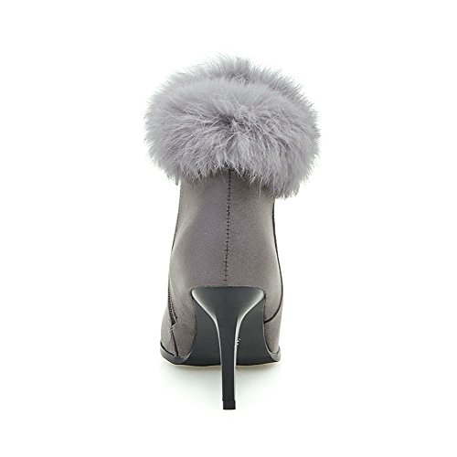 Short Plush Womens Heel Boots Lucksender High Zip Thin Frosted Side Toe Grey Pointed HOH6x0wY