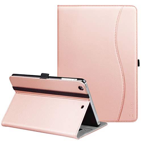 Ztotop iPad Mini 1/2/3 Case, Premium Leather Folio Stand Protective Case Smart Cover with Multi-Angle Viewing, Pocket, Functional Elastic Strap for iPad Mini 3/ Mini 2/ Mini 1 - Rose Gold ()