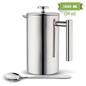 MIRA 34 oz Double Wall All Stainless Steel French Press For Coffee or Tea | Insulated Coffee Pot & Maker Keeps Brewed Coffee or Tea Warm for Hours (34 oz French Press with Bonus Long Spoon)