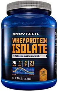 Whey Protein Isolate Powder with 25 Grams of Protein per Serving, BCAA s Ideal for Post Workout Muscle Building and Growth, Contains Milk and Soy, Peanut Butter 1.5 Pounds by BodyTech