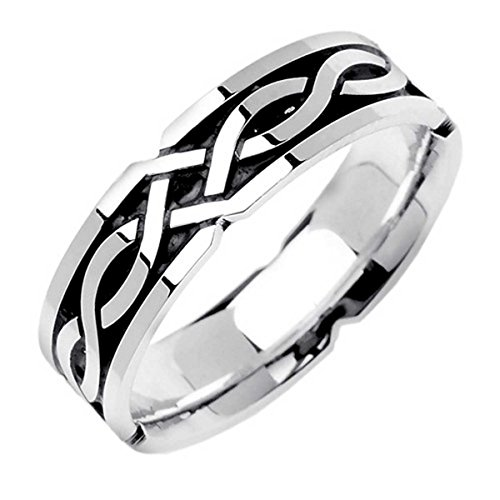 18k White Gold Celtic Knot (18K White Gold Celtic Knot Men's Comfort Fit Wedding Band (6mm) Size-9.5c1)