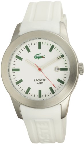 Lacoste Men's 2010437 Advantage White Rubber Logo Strap White Dial Watch