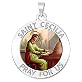 PicturesOnGold.com Saint Cecilia Religious Medal - Color - 1 Inch Size of a Quarter -Solid 14K White Gold with Engraving