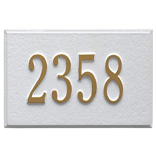 - Whitehall Products Plaque withTwo Line Designed to use for Whitehall Wall Mounted Mailbox (White/Gold)