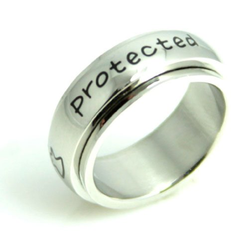 Protected By An Angel Spinner Ring - Stainless Steel Poesy Ring - Religious Ring ()