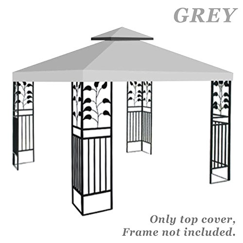 Strong Camel Double Tier Replacement Cover for 10'X10'Gazebo Canopy Top Patio Pavilion Cover Sunshade Polyester (Grey) by Strong Camel