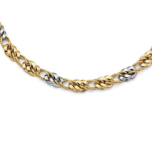 (Perfect Jewelry Gift Leslie's 14k Two-tone Polished and textured Fancy Link)