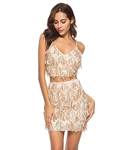- L'VOW Womens Glitter Sequin Deep V Neck Dress Halter Backless Bodycon Crop Top Mini Skirt Two Piece Outfit Set (Gold, S)