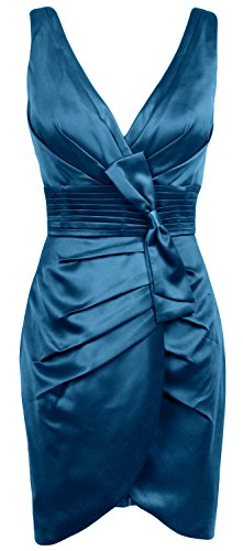MACloth Women V Neck Satin Short Bridesmaid Dress Formal Evening Party Gown Teal