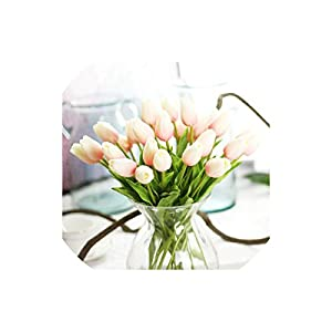 Artificial Tulips 30 Pcs Beauty Real Touch Flowers Latex Tulips Flower Artificial Bouquet for Wedding,Light Pink 28