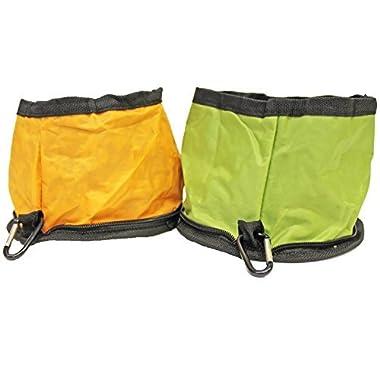 Set of 2 Nylon Zipper Collapsible Travel Pet Bowls
