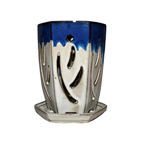 4 x 6 Hexagon Ceramic Orchid Pot by rePotme Sky Blue Over Cobalt
