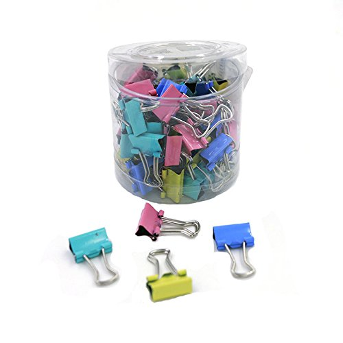 60pcs/lot 15mm Colorful Metal Binder Clips Paper Clip Office Stationery (Easy Halloween Loom Bands)