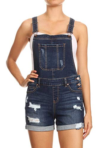 Vialumi Women's Regular Fitted Distressed Denim Short Overalls with Cuffed Hem Dark M