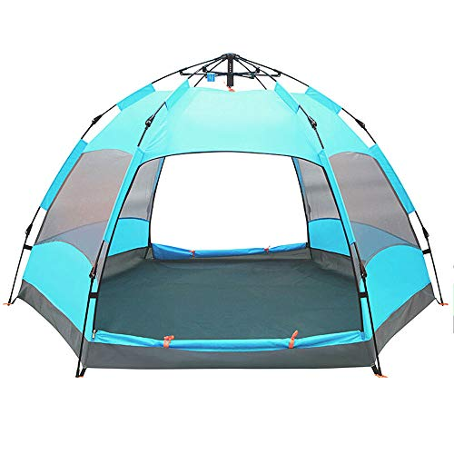 DGLLO-Hexagonal-automatic-outdoor-tent-5-8-person-double-decker-rain-proof-park-beach-camping-5-8-person-aqua-blue5-8-Person-Family-Tent-Waterproof-Hydraulic-Anti-UV-Windproof-Backpacking-Canopy-Tent