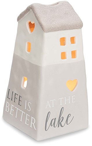 Pavilion Gift Company 86208 Love Lives Here - Life Is Better At The Lake Porcelain House Candle Holder by Pavilion Gift Company