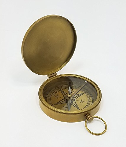 Stanley London Engravable Antique Large Brass Pocket Compass (Personalized Front) ()