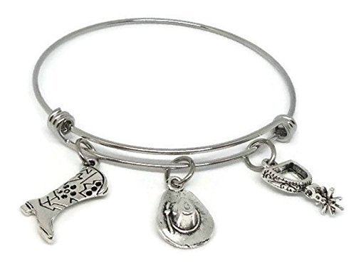 Western Bangle - Cowgirl charm bracelet - Country Jewelry