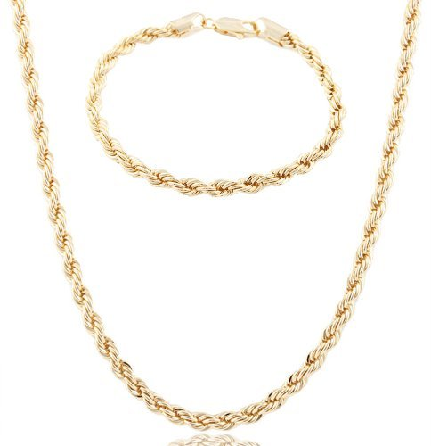 Rope Chain Necklace with a Matching 8 Inch Bracelet Jewelry Set (P-271 + p-273) (24 Inch Gold Tone Chain)