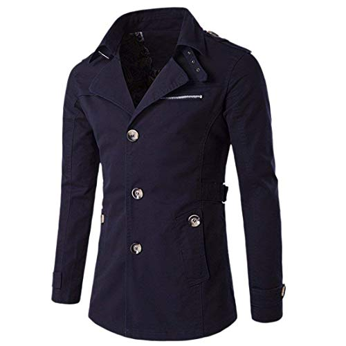 Blau Huixin Breasted Fashion Windbreaker Coat Navy Outerwear Reversible Men's Jacket Single Coat Outerwear Apparel O8wwgUfTqc